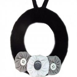 12cm Wool Wreath - Black,...