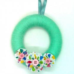 12cm Wool Wreath - Mint Heart