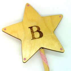 """Wooden Wand - with Initial """"B"""""""