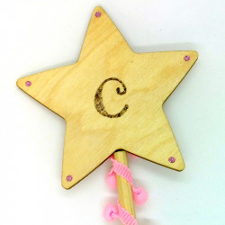 """Wooden Wand - with Initial """"C"""""""