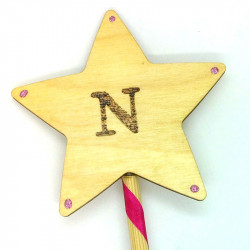 """Wooden Wand - with Initial """"N"""""""