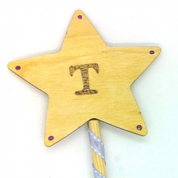 """Wooden Wand - with Initial """"T"""""""