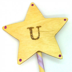 """Wooden Wand - with Initial """"U"""""""