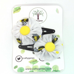 White Bee Hair Clips