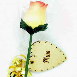 Wooden Rose - Yellow &...