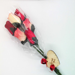 Wooden Rose Bouquet - Red &...