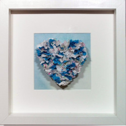 Blue & White Fabric Heart...