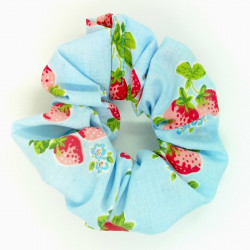 Blue Strawberry Scrunchie