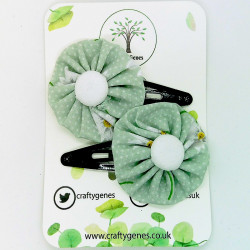 Mint Daisy Hair Clips