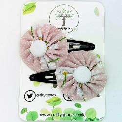 Pink Daisy Hair Clips