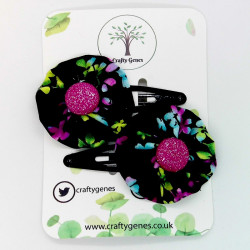 Black Floral Hair Clips
