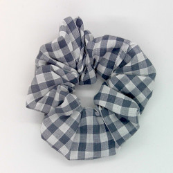 Grey Gingham - Hair Scrunchie