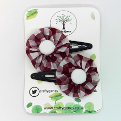 Burgundy Gingham Hair Clips