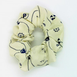 Cream Nautical Hair Scrunchie