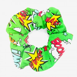 Green Comic Hair Scrunchie