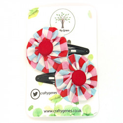 Red Chequered Hair Clips
