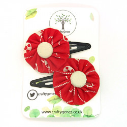 Red Nautical Hair Clips