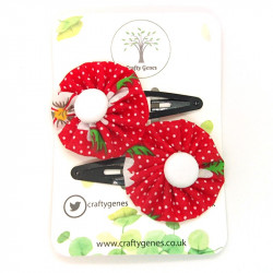 Red Daisy Hair Clips