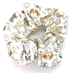 White Dog Scrunchie