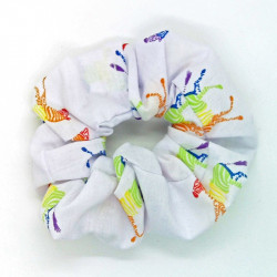 White Rainbow Zebra Scrunchie