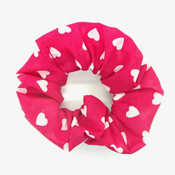 Hot Pink Heart Scrunchie