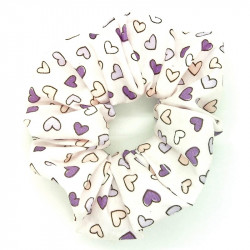 Purple Mini Hearts Scrunchie