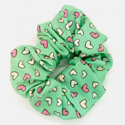 Mint Mini Hearts Scrunchie
