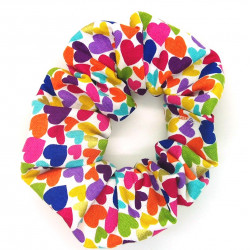 Multi Coloured Heart Scrunchie