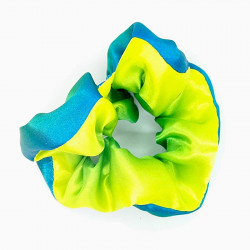Blue, Green Satin Scrunchie