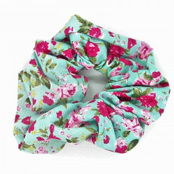 Blue, Pink Floral Scrunchie