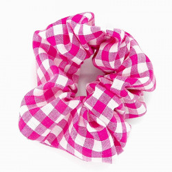 Cerise Gingham Scrunchie