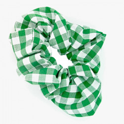 Green Gingham Scrunchie