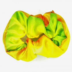 Green & Yellow Satin Scrunchie