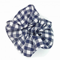 Navy Gingham Scrunchie