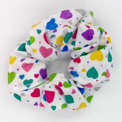 White Funky Heart Scrunchie