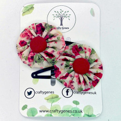 Beige & Red Floral Hair Clips