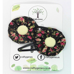 Black Ditsy Floral Hair Clips