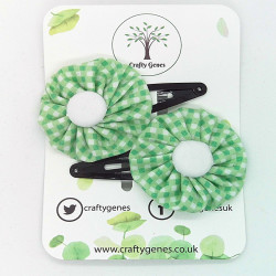 Mint Gingham Hair Clips