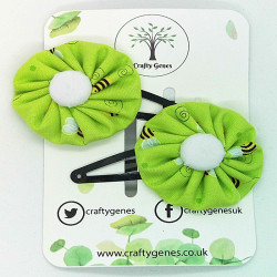 Green Bee Hair Clips