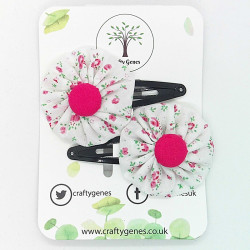 White & Pink Ditsy Hair Clips