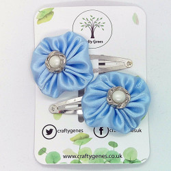 Baby Blue Satin Hair Clips