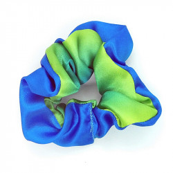 Blue & Green Satin Scrunchie