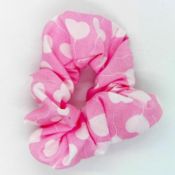 Pink Heart Hair Scrunchie