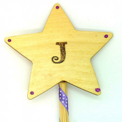 "Wooden Wand - with Initial ""J"""