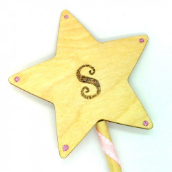"Wooden Wand - with Initial ""S"""