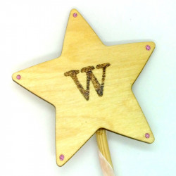 "Wooden Wand - with Initial ""W"""