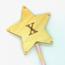 "Wooden Wand - with Initial ""X"""