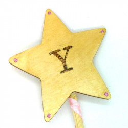 "Wooden Wand - with Initial ""Y"""