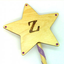 "Wooden Wand - with Initial ""Z"""