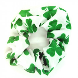 Green Shamrock Hair Scrunchie